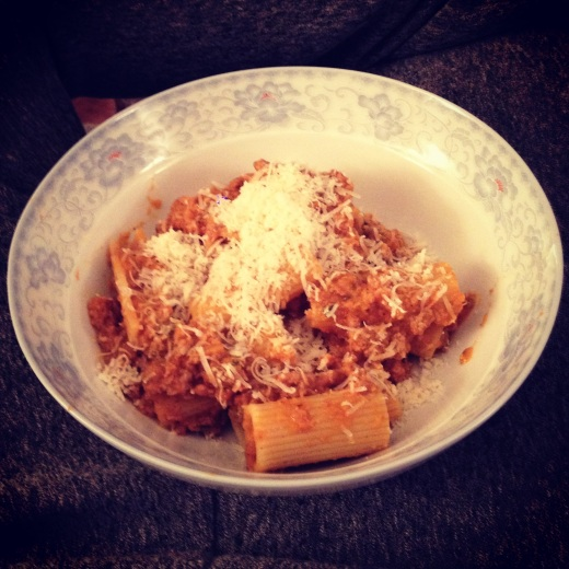 Tasty, cheap with major milage: Pasta Bolognese